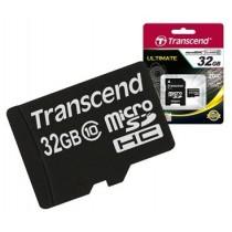 Картка пам'яті microSD 32Gb Transcend Class HC10 + перехідник на SD