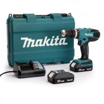 Шуруповерт Makita HP457DWE з ударом, 18В G-battery, 1,5Аг, 42/24Нм