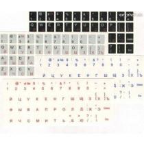 Наклейки для клавіатури (прозорі:UA,RU) білі, кирилиця