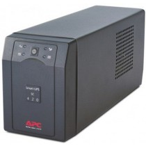 ББЖ APC Smart-UPS SC 420 VA 260 Watts / 420 VA,Input 230V / Output 230V, резетки: 4(IEC 320 C13 ), 2(IEC Jumpers), Interface Port DB-9 RS-232, захист: RJ-45 Modem/Fax/DSL/10-100 Base-T protection, змінна батарея: RBC2, RBC2J, розміри: 168х119х368мм/9,1г (